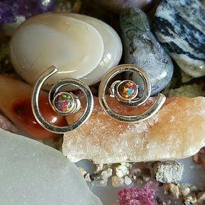 Spiral Opal Earrings Sterling Silver NEW